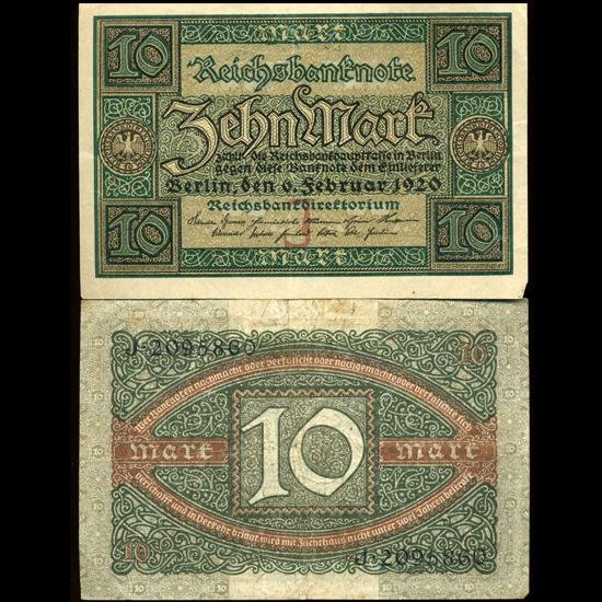 2X: 1920 Germany 10 Mark High Grade Note