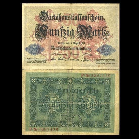 3X: 1914 Germany 50 Mark Note Hi Grade Very Rare