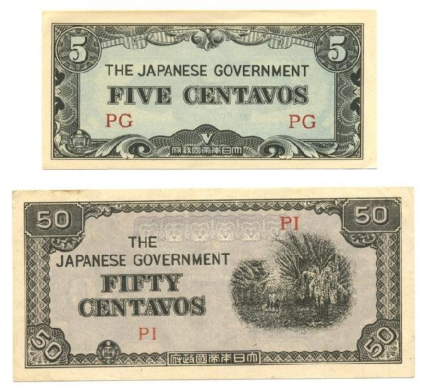 5X: 1942 WW2 Japanese Occupation 5 & 50 cent