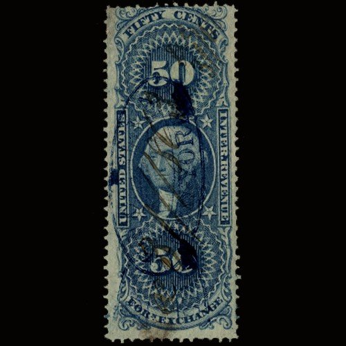 7A: 1860s US Revenue Stamp 50c Foreign Exch.