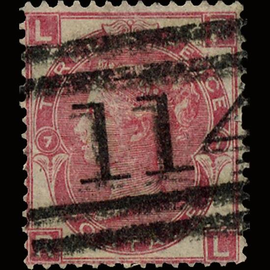 3B: 1867 RARE GB 3p Rose Used Stamp