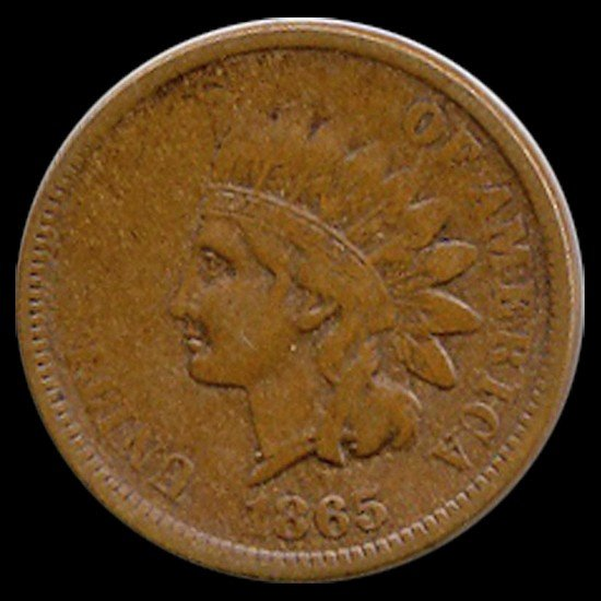 3C: 1865 Indian Cent Higher Grade Copper ERROR