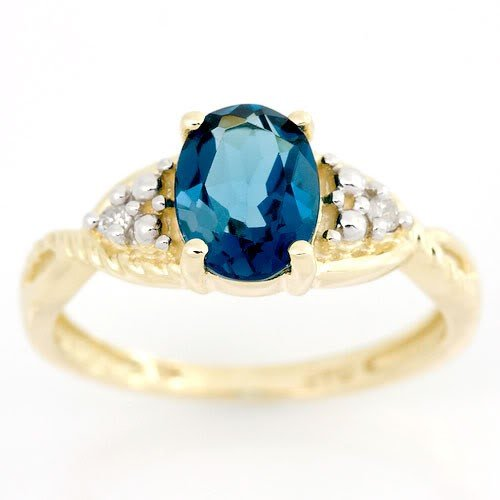 2: 1.28Ct London Blue Topaz & Diamond 9K Gold Ring