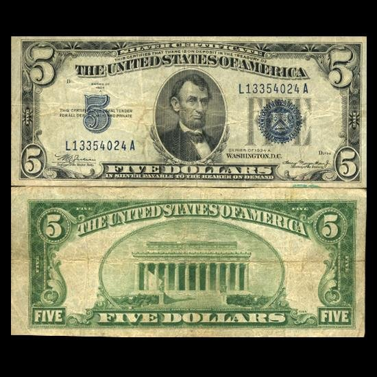 6: 1934A $5 Silver Certificate Circulated