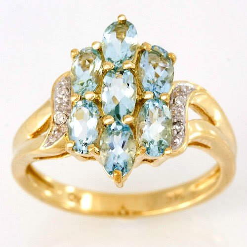 11: 2.14Ct Natural Aquamarine & Diamond 9K Gold Ring