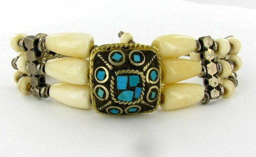 13: Tibet Lapis Bone Nickel Bracelet