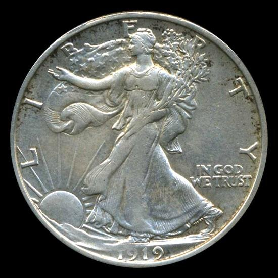 197: 1919D Walking Liberty Half RARE AU+
