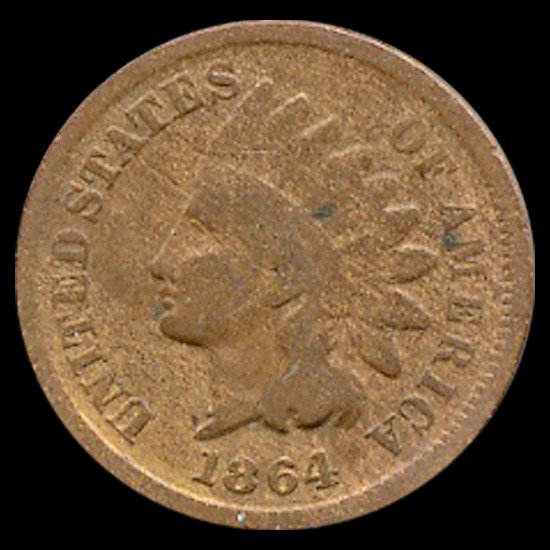 1538: 1864L Indian Cent Better Circulated Copper