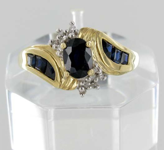 7A: 1.2ctw Blue Sapphire & Diamond 10k Gold Lady Ring