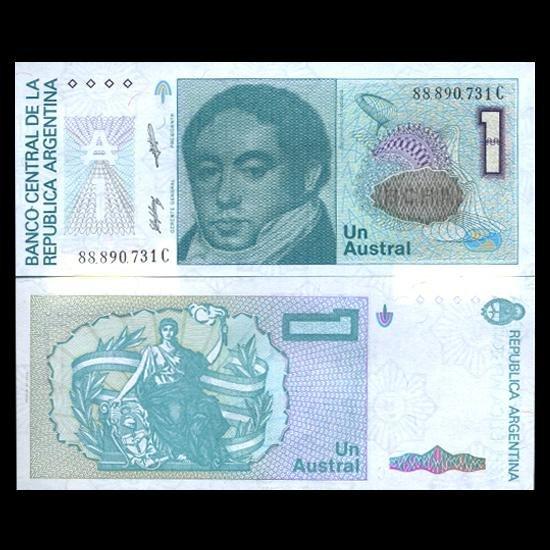 3: 1989 Argentina 1 Austral Note Crisp Uncirculated