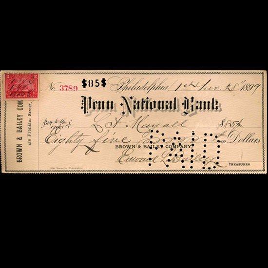 4: 1899 Penn National Bank Check