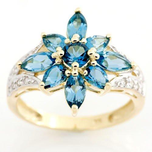 6: 2.81ct London Blue Topaz/16 Diamond 9K Gold Ring