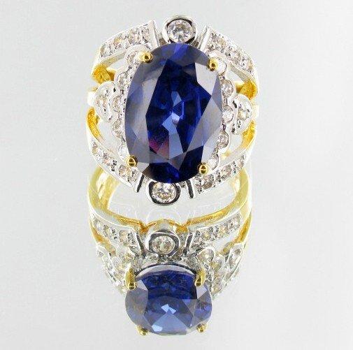 14: 58ctw Lab Dia/Sapphire 22k Gold Vermeil Ring
