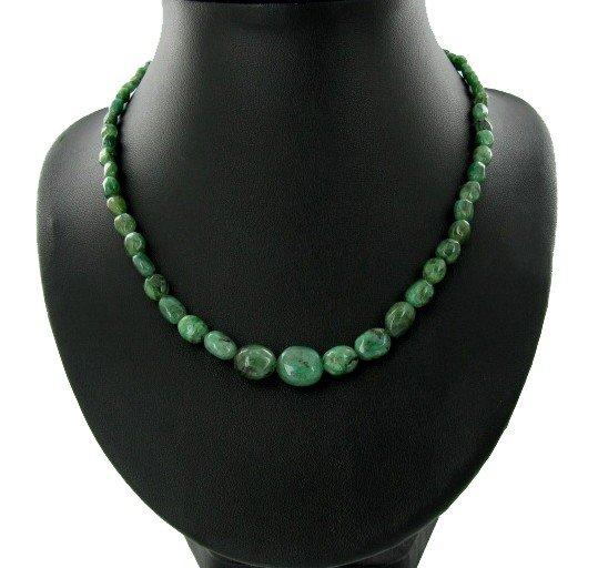 15: 26.4ct Natural Zambian Emerald Beads Silver Clasp