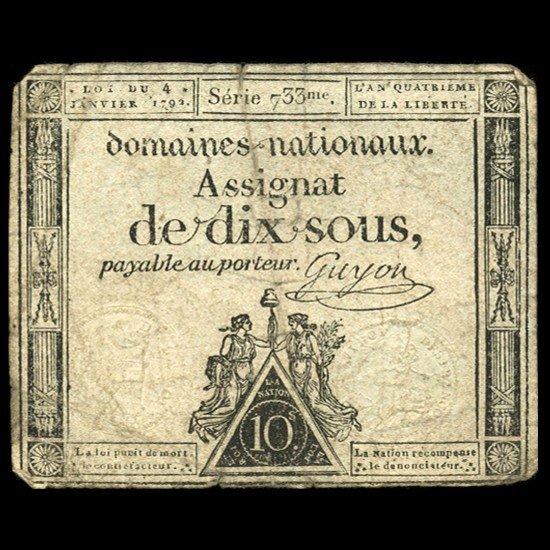 5A: 1792 France 50 Sols Assignat Currency Hi Grade