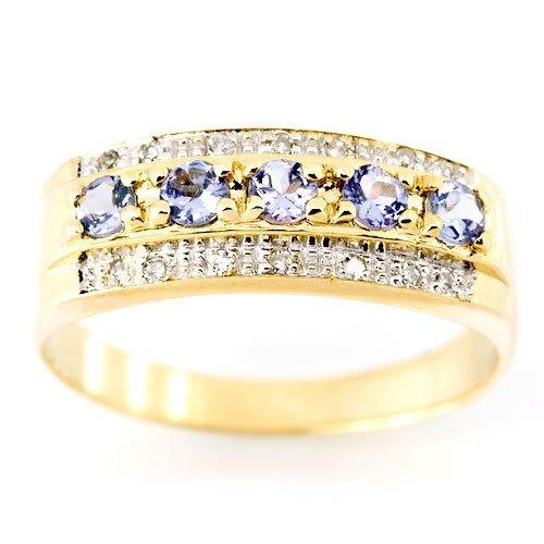 1: 0.71Ct Tanzanite & 14 Diamond Yellow 9K Gold Ring