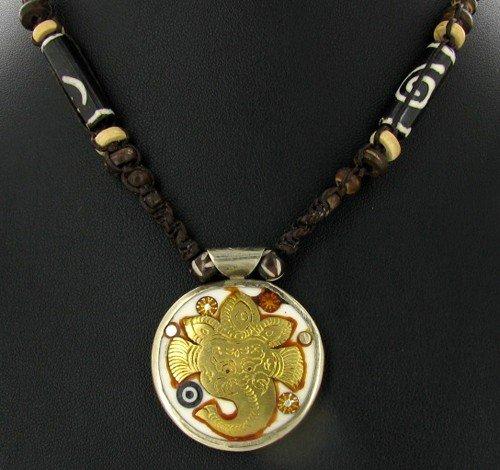 5: Tibet Bone Inlaid Nickel Brass Pendant Necklace