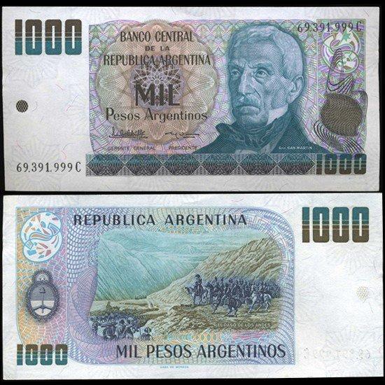 18: 1983 Argentina 1000 Peso Note Crisp Uncirculated