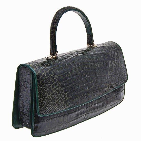 166: Ladies Dark Green Crocodile Handbag