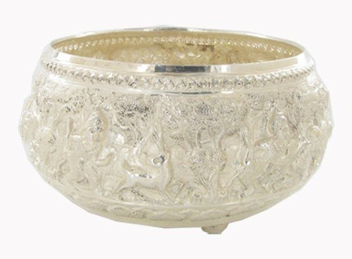 1501: Handtooled Thai 100% Silver Bowl 315 Grams