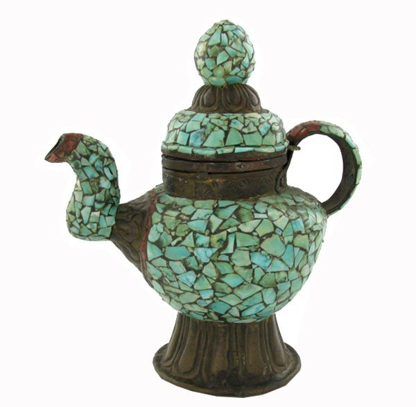 8A: Tibet Vintage Turquoise Encrusted Teapot