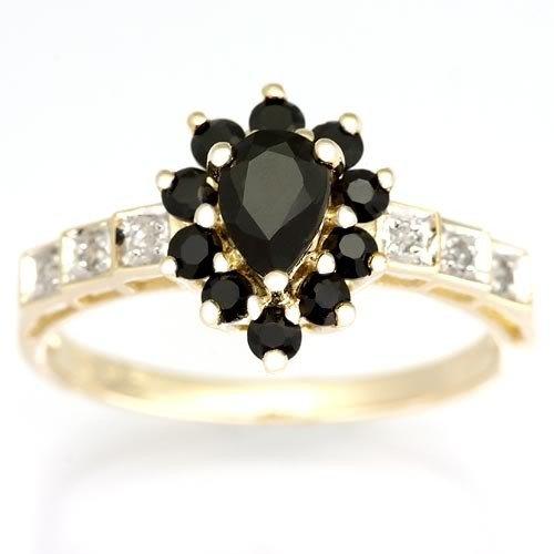 1: 1.14Ct Genuine Black Sapphire & Diamond Ring 9K