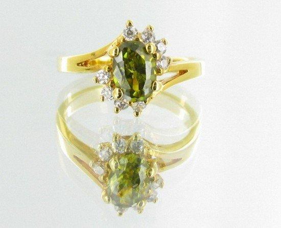 19: 11ctw Lab Dia/Emerald 22k Gold Vermeil Ring