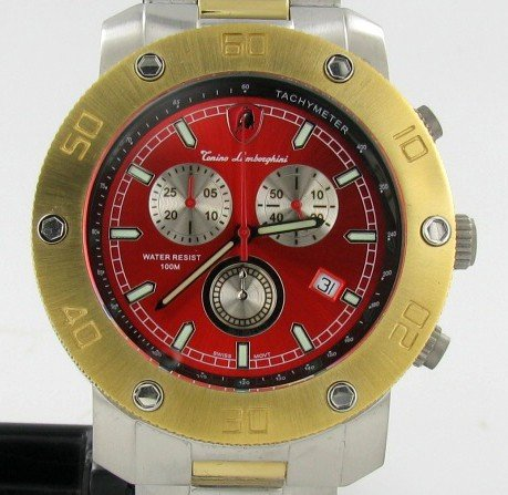 860: Lamborghini Swiss Chrono Style 18k/SS Watch