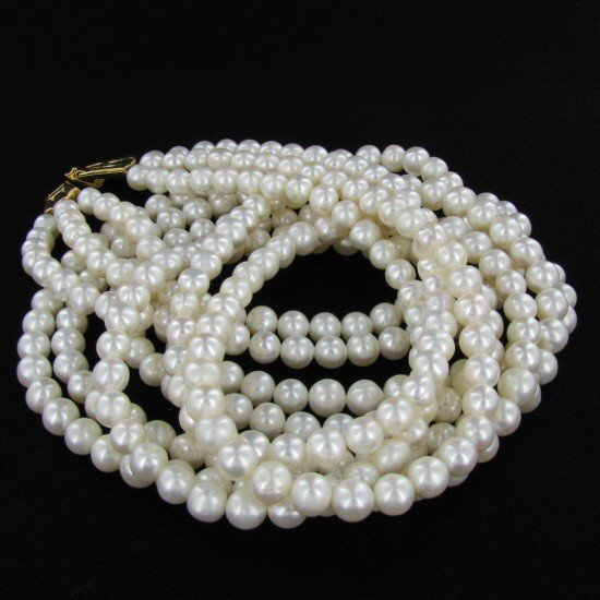 200: White Saltwater Pearl Three Strand Necklace