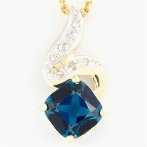 15: 2.48ct London Blue Topaz/Diamond 9K Gold Pendant
