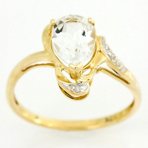 20: 1.68ct Natural Wht Topaz Diamond 9k Gold Ring