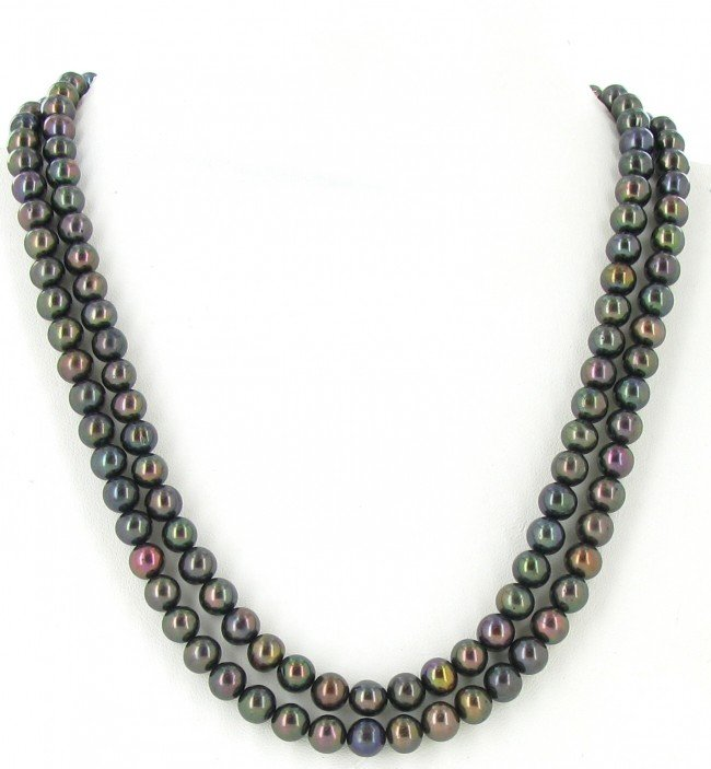 21: Black Saltwater Pearl 2 Strand Necklace