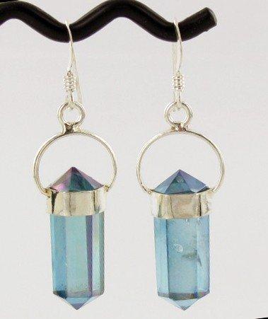24: 30ct Aqua Aura Quartz Crystal Sterling Earrings