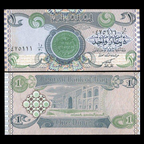10: 1992 IRAQ 1 Dinar Crisp Unc Note