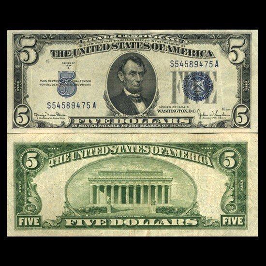 16: 1934D $5 Silver Certificate Crisp Circulated