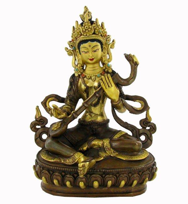 20: Gilded Bronze Tibet Seated Shiva w/Mandolin