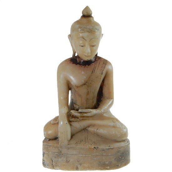 820: Large Antique White Marble Burma Buddha