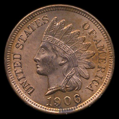 1443: 1906 Indian Cent RARE MS66+ Red