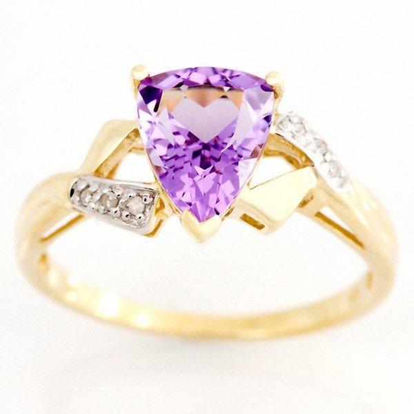 13: 1.46ct Natural Amethyst Diamond 9k Gold Ring