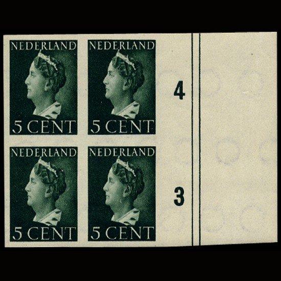 14: 1944 Netherlands 5c Imperf Block Mint Scarce