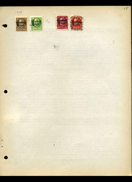 19: 1919 Bavaria Hand Made Stamp Album Page 4pcs
