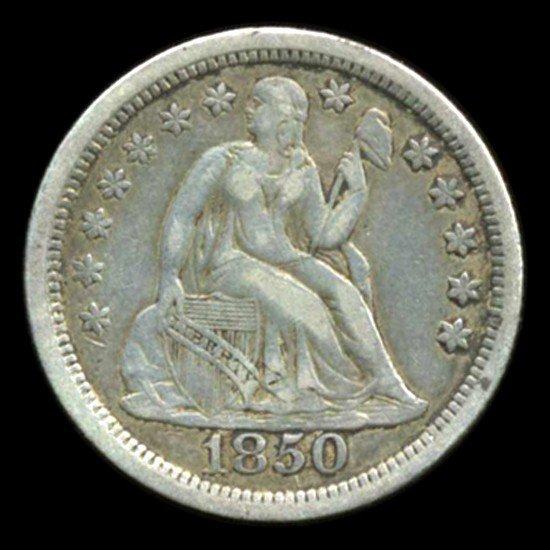 2: 1850 Seated Dime Hi Grade