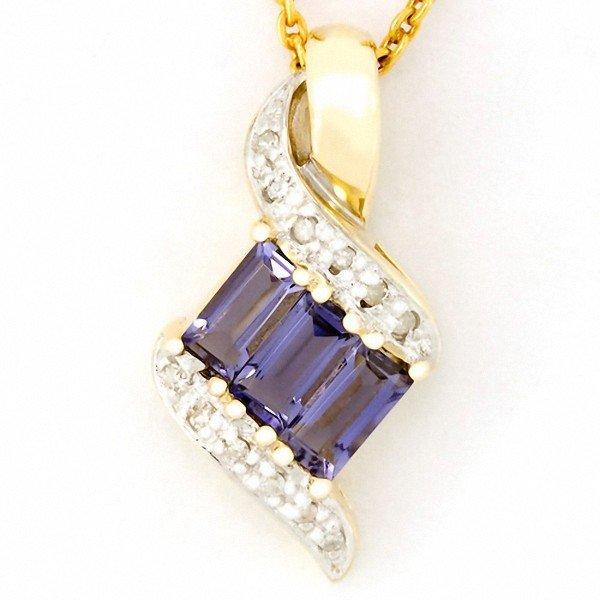 6: .93ct Natural Iolite 12 Diamond 9k Gold Pendant