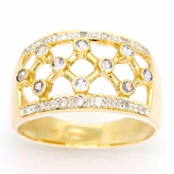 9: 1.04ct Tanzanite 14 Diamond 9k Yel Gold Ring
