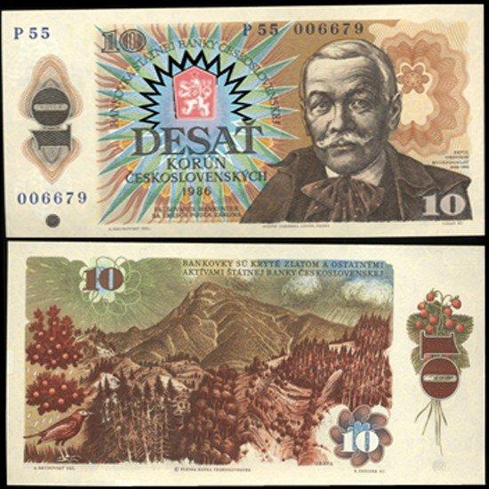 11: 1986 Czech 10 Korun Crisp Unc Note