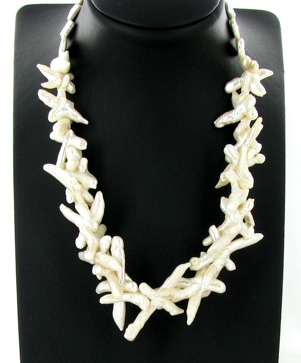 2071: White Saltwater Pearl Cultured Cross Necklace