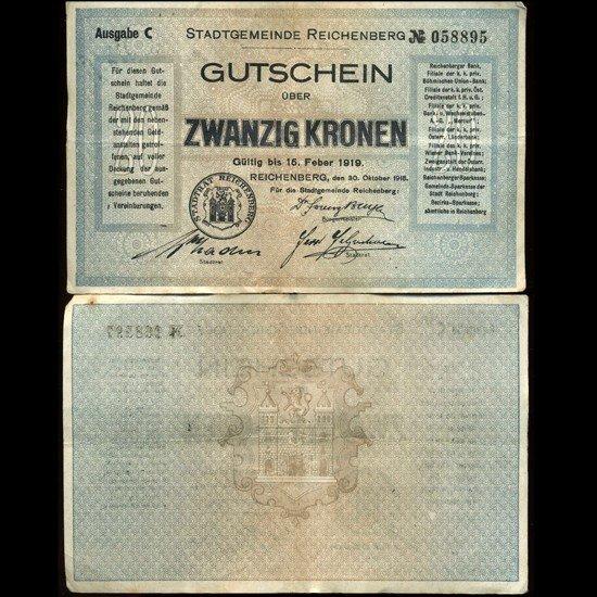 1: 1919 Austria 20k Reichenberg Note Hi Grade RARE