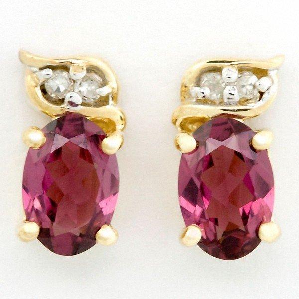 382: 1.40ct Natural Rhodolite Diamond 9k Gold Earrings