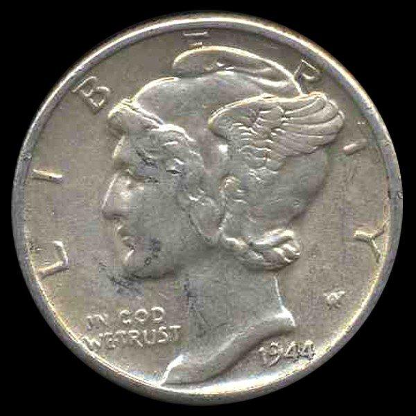 6A: 1944D Mercury Dime AU+ ERROR