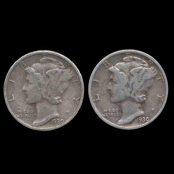 7A: 1930P/S Mercury Dimes Hi Grade Set of 2
